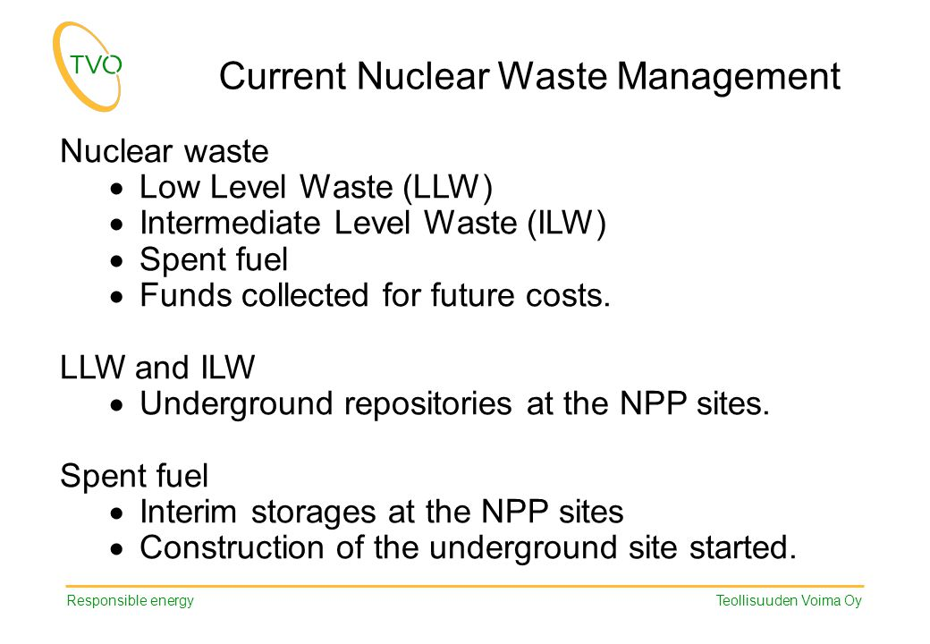 Responsible energy Teollisuuden Voima Oy Nuclear waste  Low Level Waste (LLW)  Intermediate Level Waste (ILW)  Spent fuel  Funds collected for fut