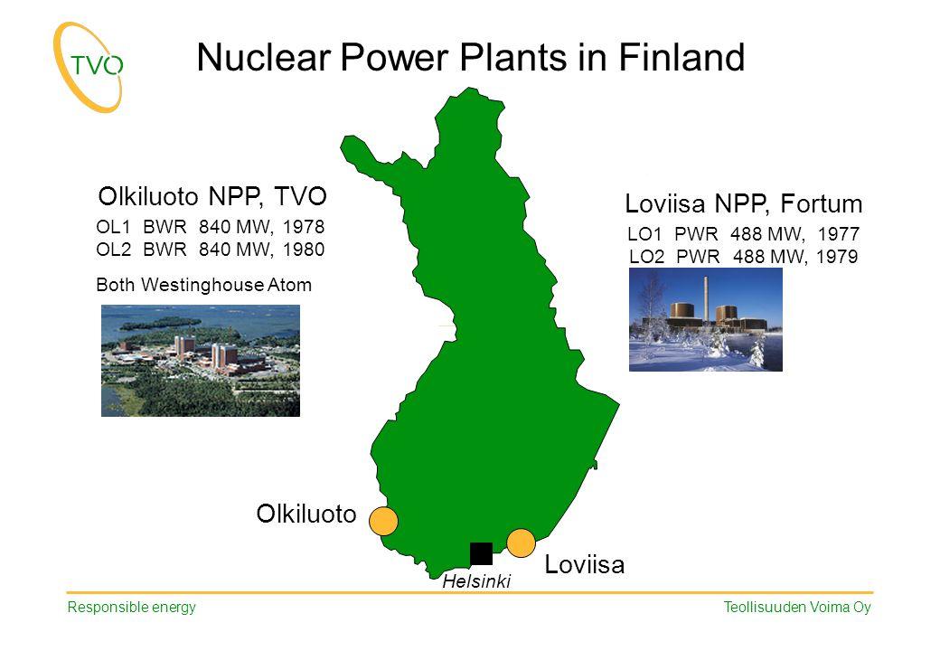 Responsible energy Teollisuuden Voima Oy Loviisa LO1 PWR 488 MW, 1977 LO2 PWR 488 MW,1979 OL1 BWR 840 MW,1978 OL2 BWR 840 MW,1980 Both Westinghouse Atom Olkiluoto NPP, TVO Loviisa NPP, Fortum Helsinki Nuclear Power Plants in Finland Olkiluoto