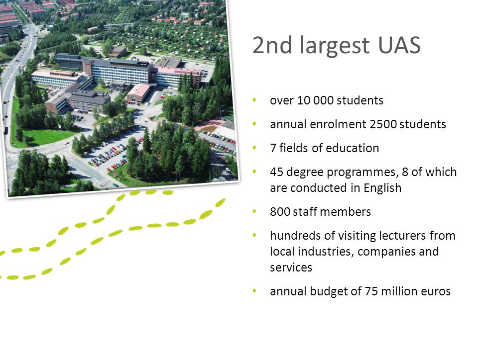2nd largest UAS over 10 000 students annual enrolment 2500 students 7 fields of education 45 degree programmes, 8 of which are conducted in English 800 staff members hundreds of visiting lecturers from local industries, companies and services annual budget of 75 million euros