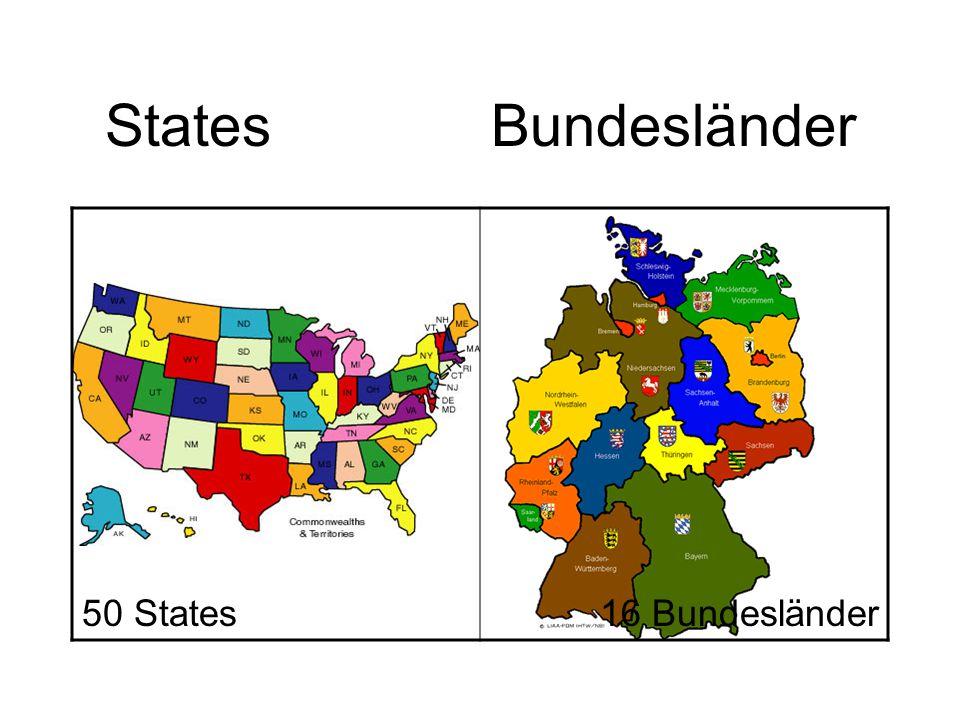 States Bundesländer 50 States16 Bundesländer