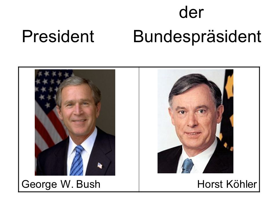 PresidentBundespräsident George W. BushHorst Köhler der
