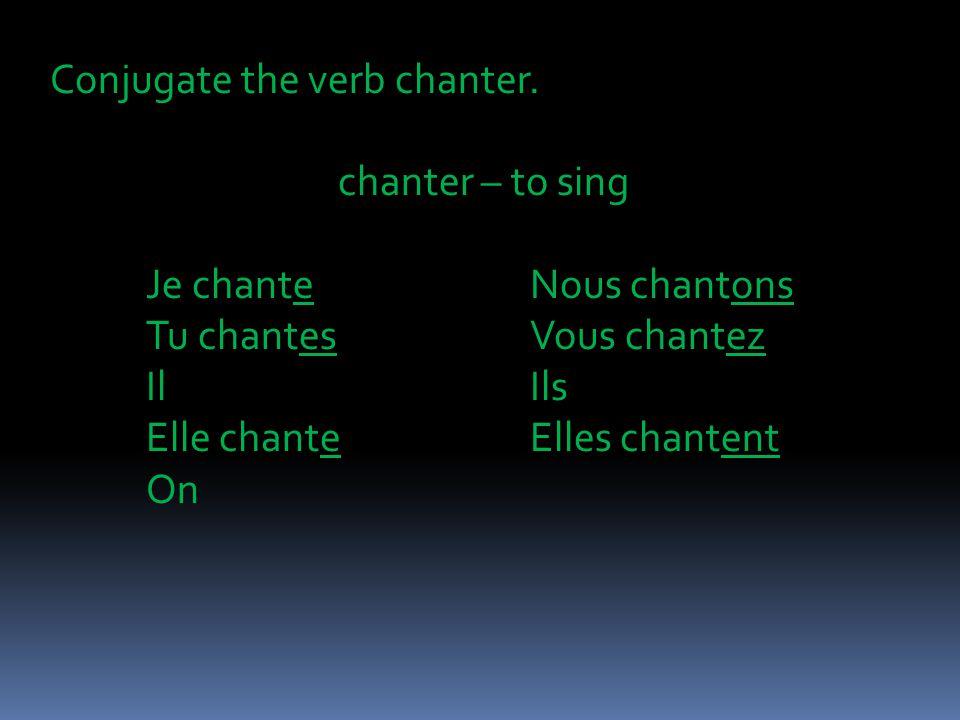 Conjugate the verb chanter.