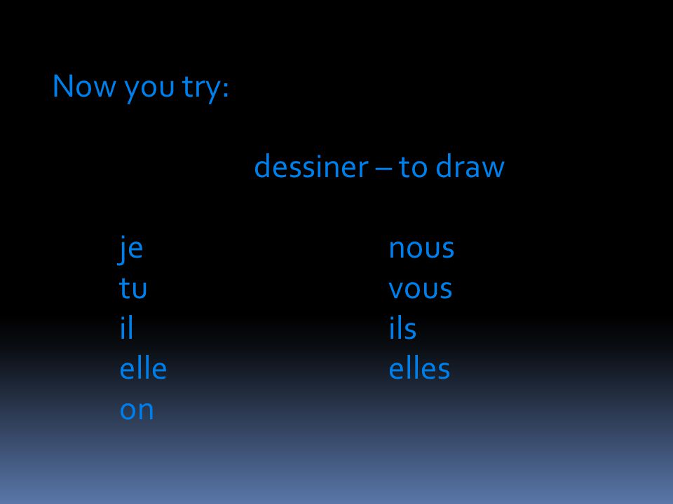 Now you try: dessiner – to draw jenous tuvous ilils elleelles on