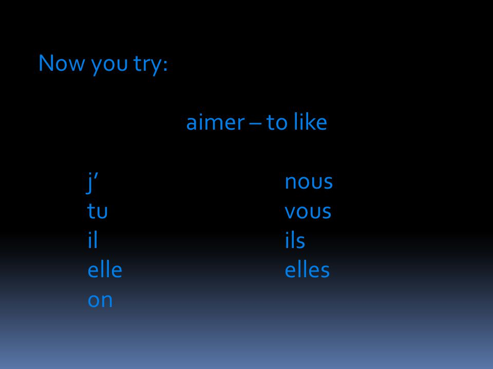 Now you try: aimer – to like j'nous tuvous ilils elleelles on