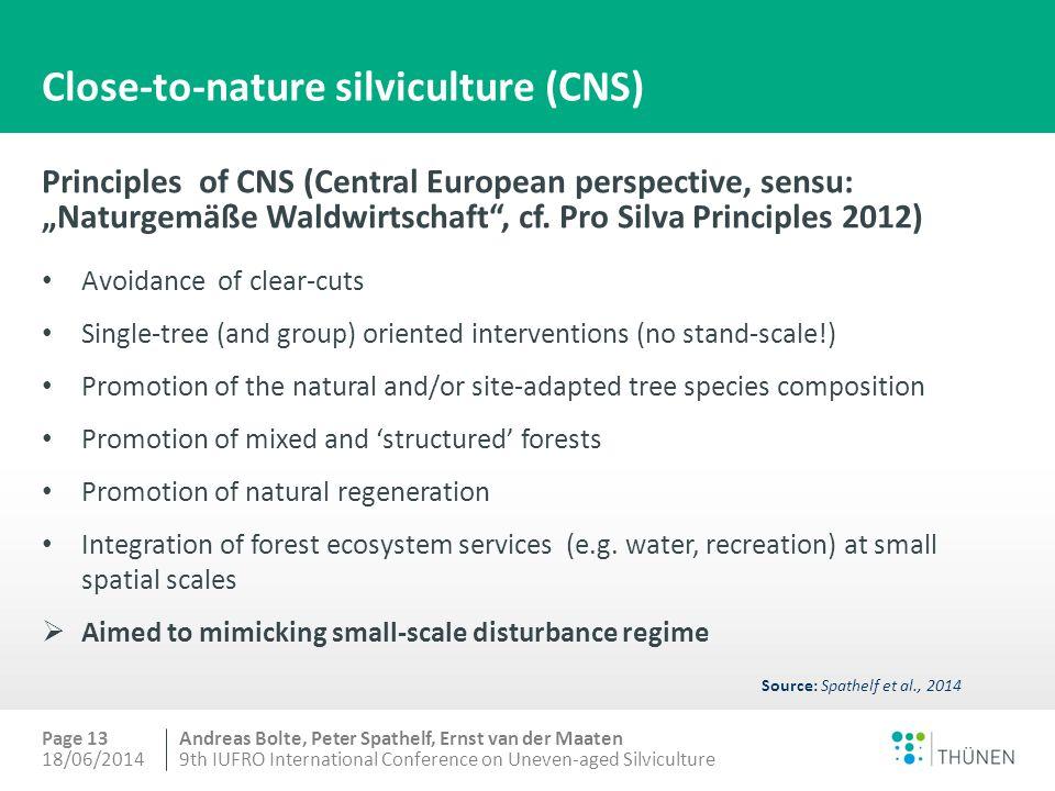 "Andreas Bolte, Peter Spathelf, Ernst van der Maaten Close-to-nature silviculture (CNS) Principles of CNS (Central European perspective, sensu: ""Naturgemäße Waldwirtschaft , cf."