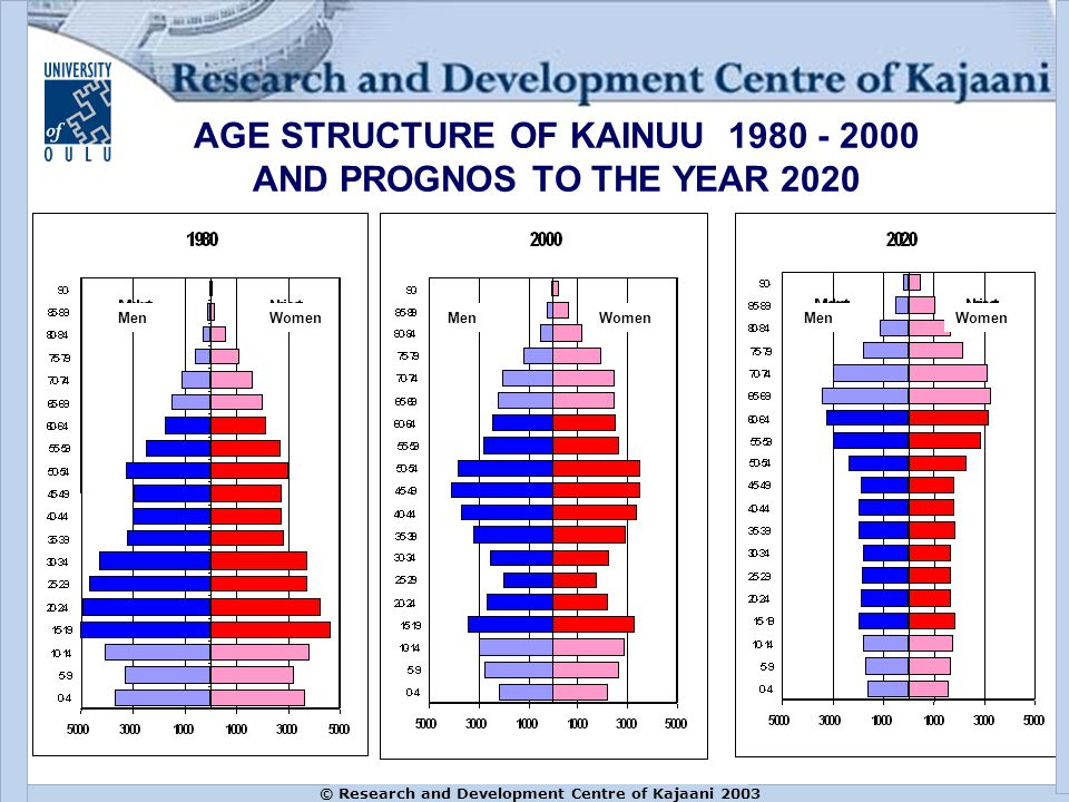 © Research and Development Centre of Kajaani 2003 AGE STRUCTURE OF KAINUU 1980 - 2000 AND PROGNOS TO THE YEAR 2020 MenWomenMenWomenMenWomen