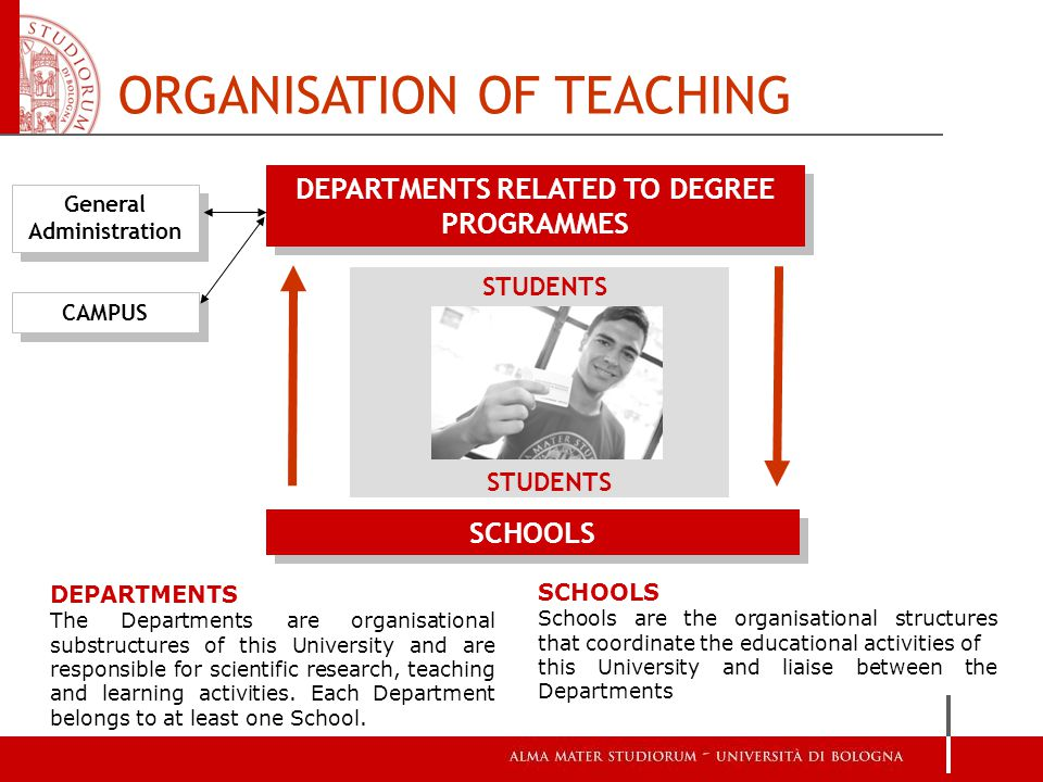 DEPARTMENTS RELATED TO DEGREE PROGRAMMES ORGANISATION OF TEACHING General Administration CAMPUS SCHOOLS STUDENTS DEPARTMENTS The Departments are organisational substructures of this University and are responsible for scientific research, teaching and learning activities.