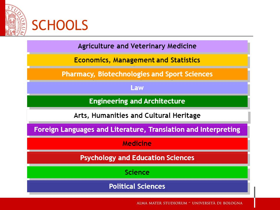 Agriculture and Veterinary Medicine Pharmacy, Biotechnologies and Sport Sciences Engineering and Architecture Medicine Science Economics, Management and Statistics Law Arts, Humanities and Cultural Heritage Political Sciences Psychology and Education Sciences Foreign Languages and Literature, Translation and Interpreting SCHOOLS