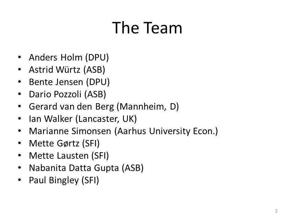 The Team Anders Holm (DPU) Astrid Würtz (ASB) Bente Jensen (DPU) Dario Pozzoli (ASB) Gerard van den Berg (Mannheim, D) Ian Walker (Lancaster, UK) Marianne Simonsen (Aarhus University Econ.) Mette Gørtz (SFI) Mette Lausten (SFI) Nabanita Datta Gupta (ASB) Paul Bingley (SFI) 2