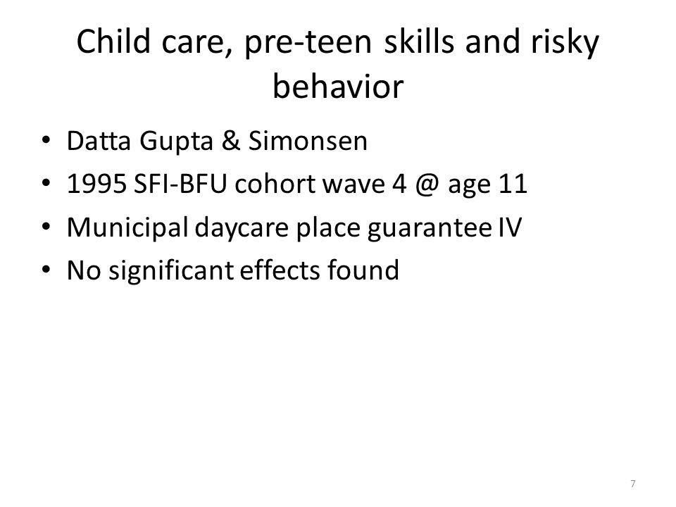 SDQ informant discrepancies & child behavior Datta Gupta, Lausten, Pozzoli Strengths & Difficulties Questionnaire – Socio-emotional development psychometric instrument – Validated for parent, teacher, child response – Analyse explanatories of differential response 1995 BFU cohort wave 4 @ 11 – Father knows best 8