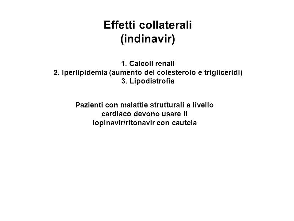 Effetti collaterali (indinavir) 1. Calcoli renali 2.