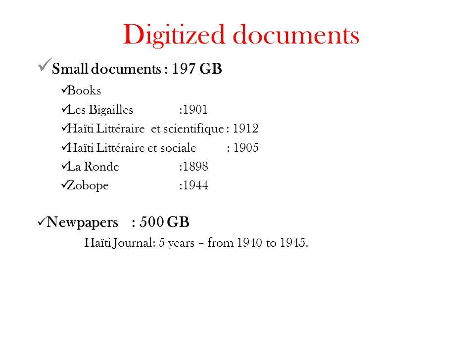 Digitized documents Small documents : 197 GB Books Les Bigailles:1901 Haïti Littéraire et scientifique : 1912 Haïti Littéraire et sociale: 1905 La Ronde:1898 Zobope:1944 Newpapers: 500 GB Haïti Journal: 5 years – from 1940 to 1945.