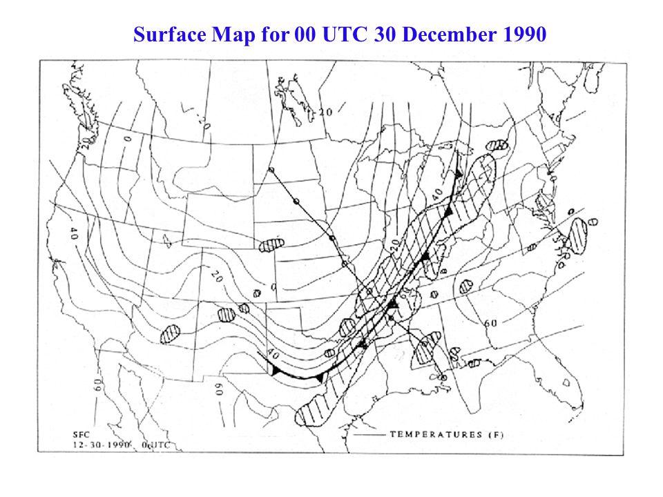 Surface Map for 00 UTC 30 December 1990