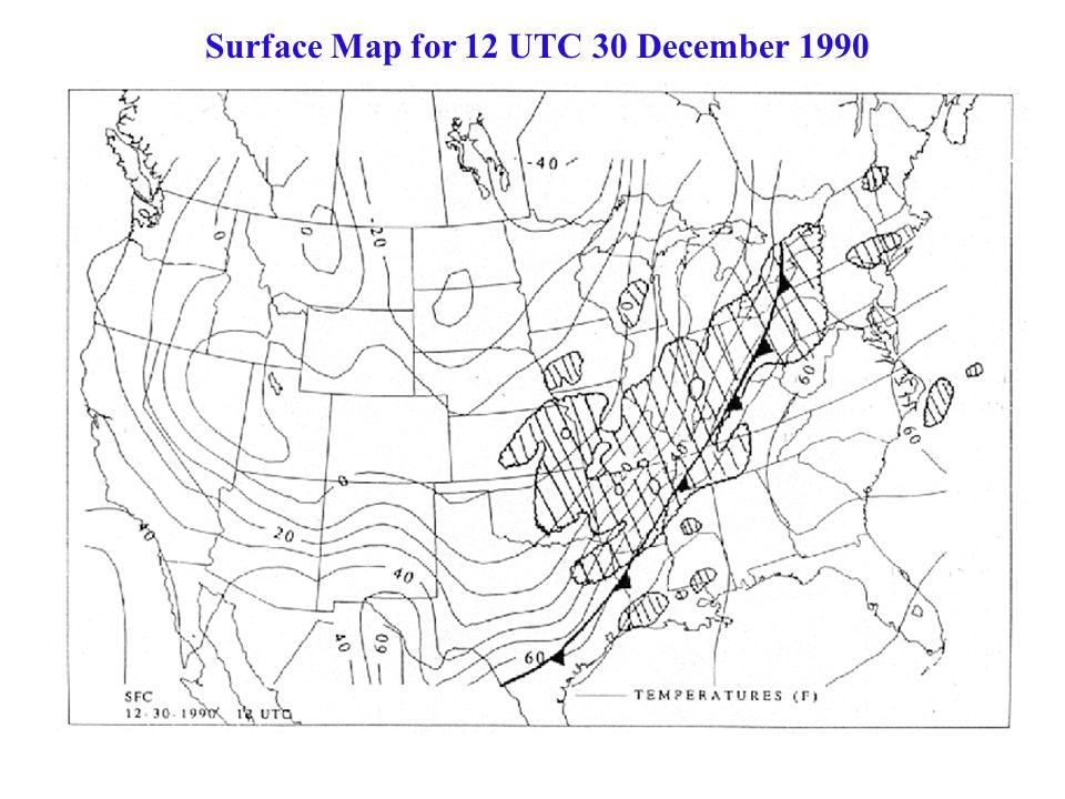 Surface Map for 12 UTC 30 December 1990