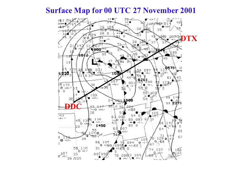 Surface Map for 00 UTC 27 November 2001 DDC DTX