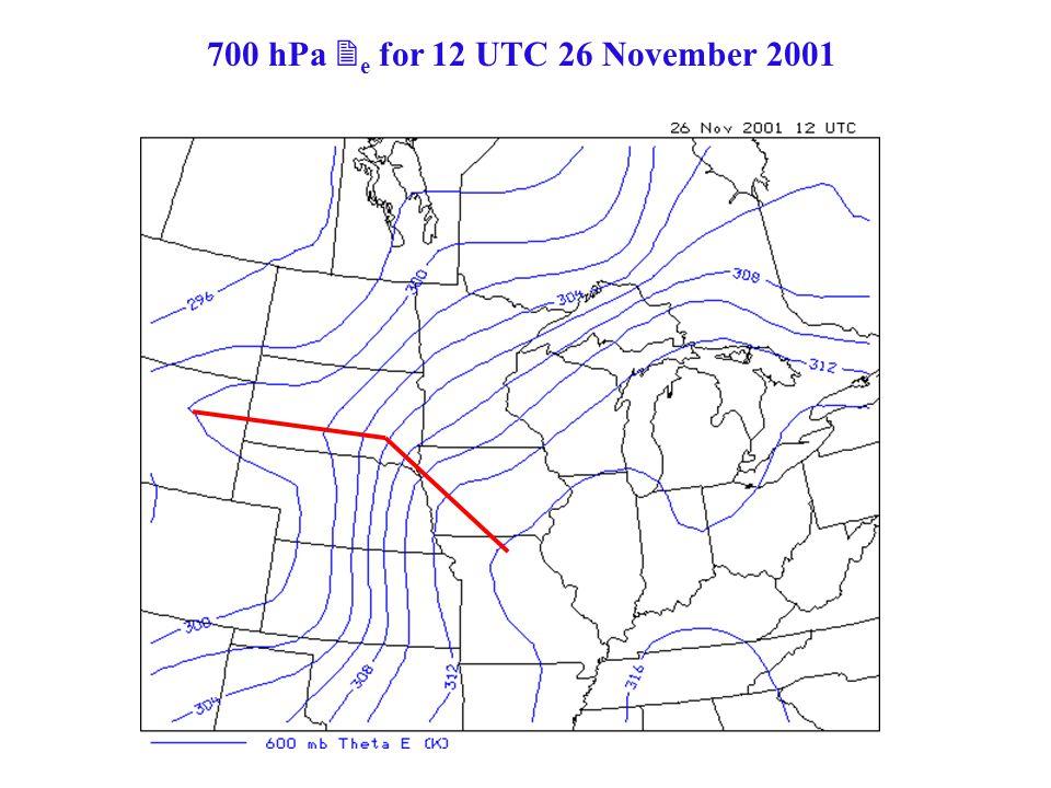 700 hPa  e for 12 UTC 26 November 2001