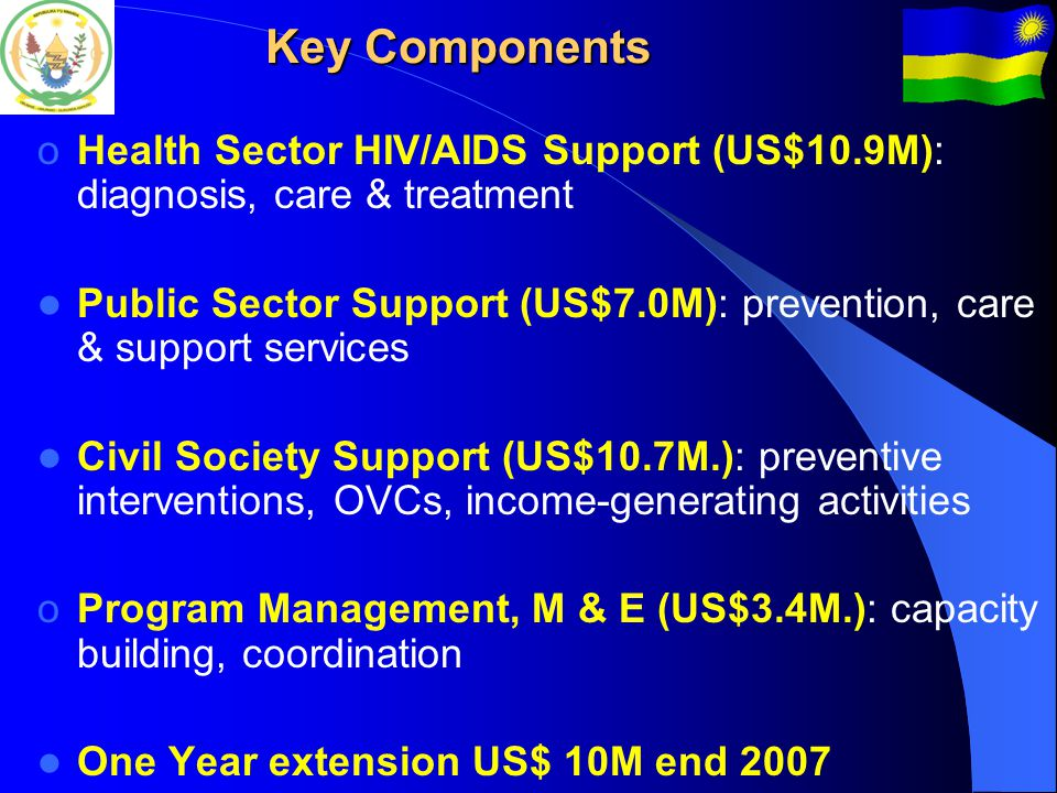 Key Components oHealth Sector HIV/AIDS Support (US$10.9M): diagnosis, care & treatment Public Sector Support (US$7.0M): prevention, care & support services Civil Society Support (US$10.7M.): preventive interventions, OVCs, income-generating activities oProgram Management, M & E (US$3.4M.): capacity building, coordination One Year extension US$ 10M end 2007