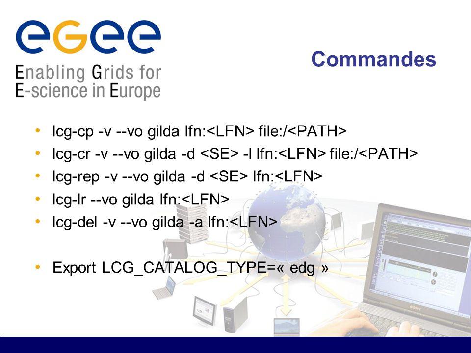 Commandes lcg-cp -v --vo gilda lfn: file:/ lcg-cr -v --vo gilda -d -l lfn: file:/ lcg-rep -v --vo gilda -d lfn: lcg-lr --vo gilda lfn: lcg-del -v --vo gilda -a lfn: Export LCG_CATALOG_TYPE=« edg »