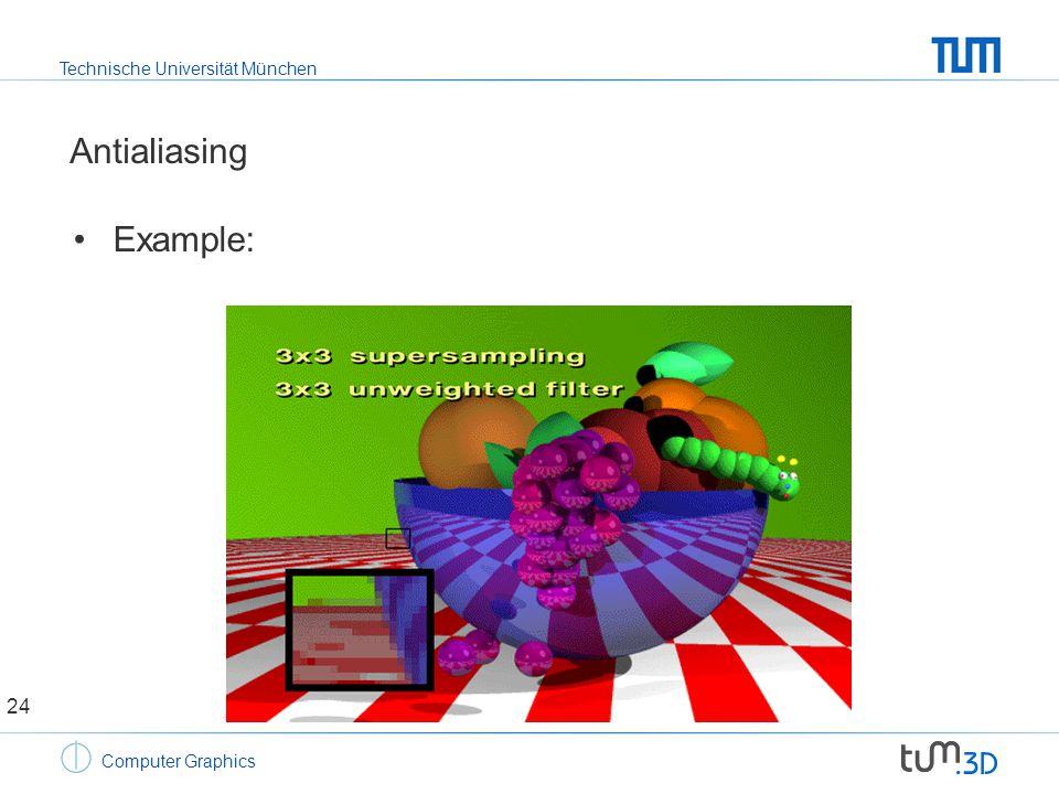 Technische Universität München Computer Graphics Antialiasing Example: 24