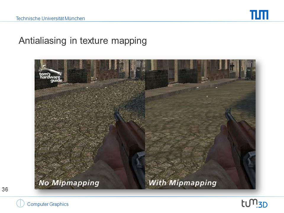 Technische Universität München Computer Graphics Antialiasing in texture mapping 36