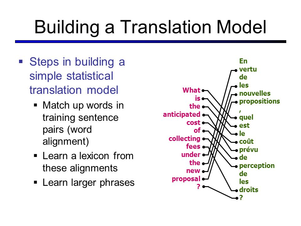 Building a Translation Model  Steps in building a simple statistical translation model  Match up words in training sentence pairs (word alignment)  Learn a lexicon from these alignments  Learn larger phrases What is the anticipated cost of collecting fees under the new proposal .