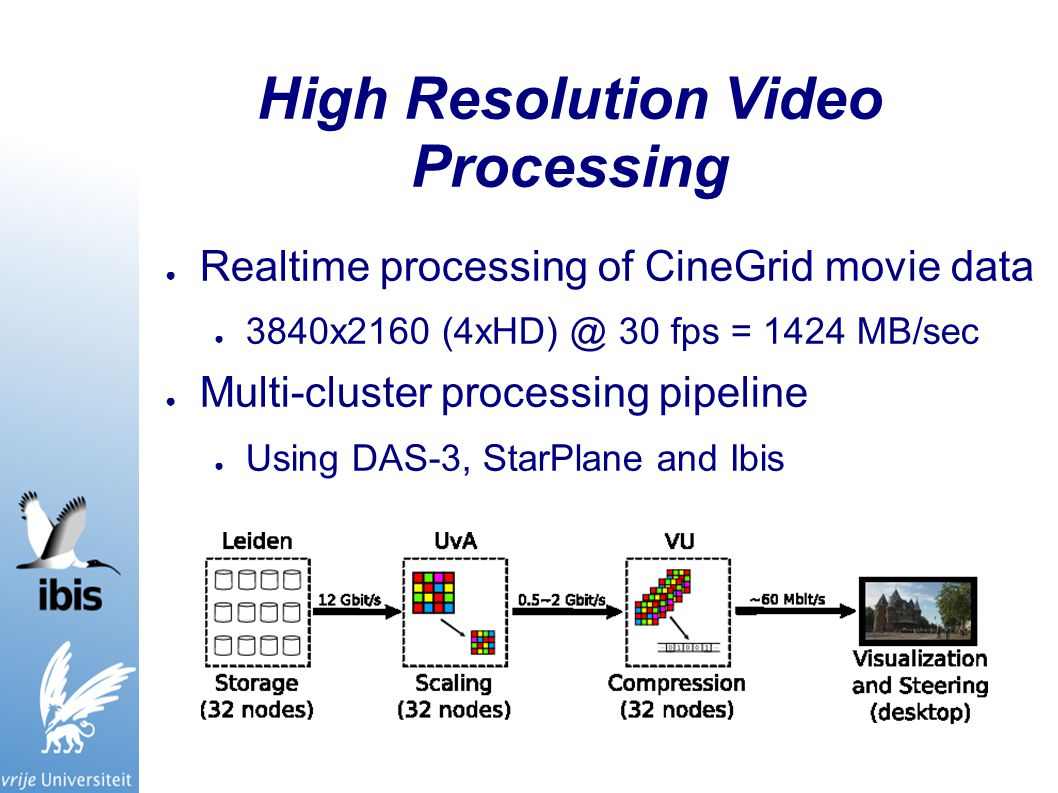 High Resolution Video Processing ● Realtime processing of CineGrid movie data ● 3840x2160 (4xHD) @ 30 fps = 1424 MB/sec ● Multi-cluster processing pipeline ● Using DAS-3, StarPlane and Ibis