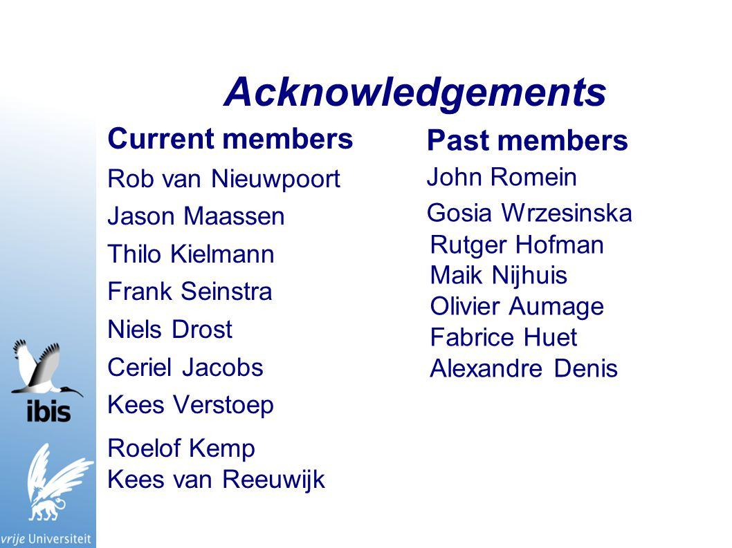 Acknowledgements Current members Rob van Nieuwpoort Jason Maassen Thilo Kielmann Frank Seinstra Niels Drost Ceriel Jacobs Kees Verstoep Roelof Kemp Ke