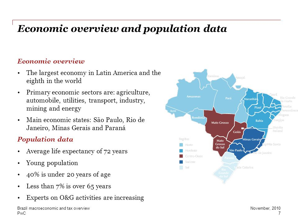 PwC Economic overview and population data Economic overview The largest economy in Latin America and the eighth in the world Primary economic sectors