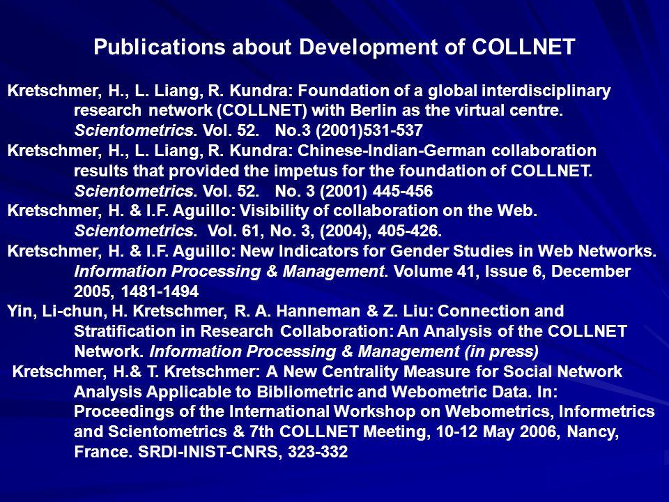 Publications about Development of COLLNET Kretschmer, H., L. Liang, R. Kundra: Foundation of a global interdisciplinary research network (COLLNET) wit