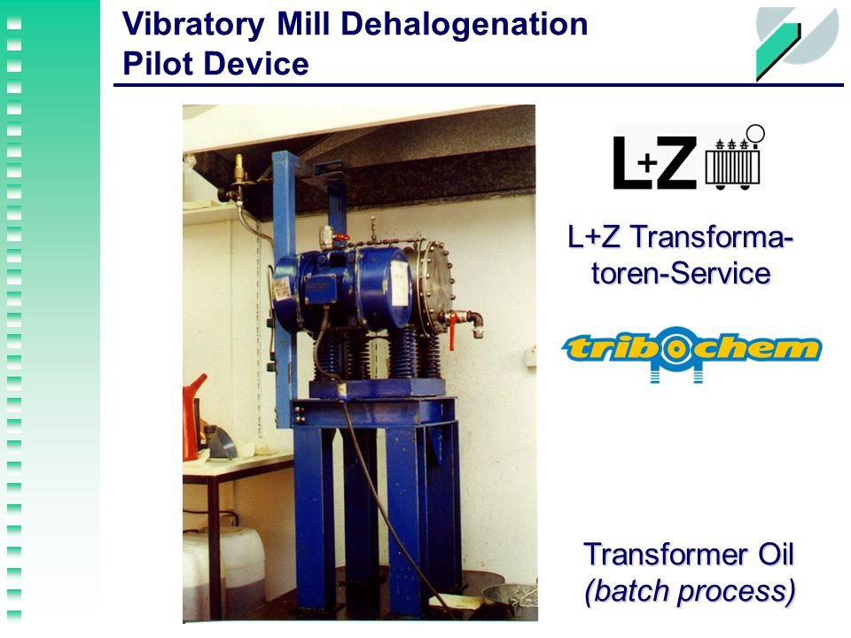 Vibratory Mill Dehalogenation Pilot Device Transformer Oil (batch process) L+Z Transforma- toren-Service