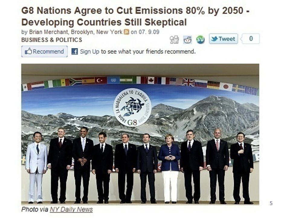 The Kyoto Agreement World fossil-fuel carbon-dioxide emissions from the BP Statistical Review For an 80% reduction by 2050—imagine the collapse of the Soviet Union, repeated four times, voluntarily 6