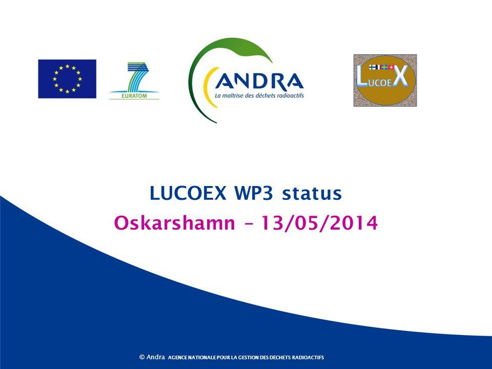 AGENCE NATIONALE POUR LA GESTION DES DÉCHETS RADIOACTIFS © Andra Oskarshamn – 13/05/2014 LUCOEX WP3 status