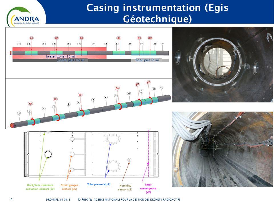 AGENCE NATIONALE POUR LA GESTION DES DÉCHETS RADIOACTIFS © Andra 5 Casing instrumentation (Egis Géotechnique) heated zone (15 m) usable part (19 m)head part (6 m) DRD/MFS/14-0113