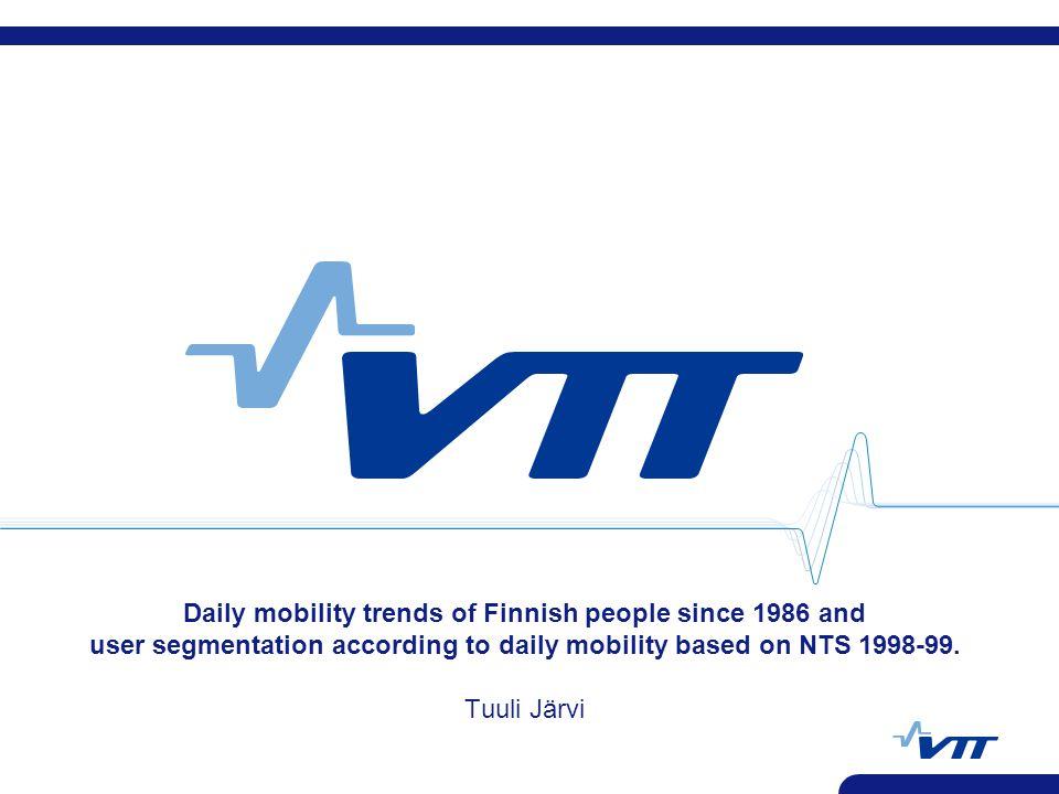 VTT Technical Reasearch Centre of Finland 27.4.2006 Tuuli Järvi VTT 12 Modal share by trip length NTS 2004-05