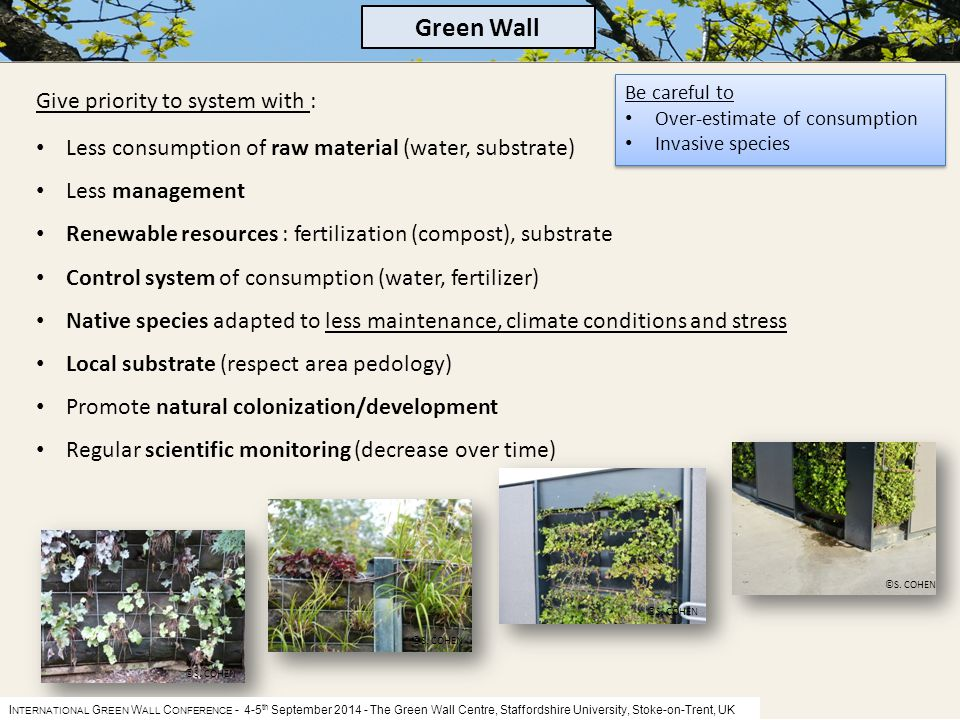I NTERNATIONAL G REEN W ALL C ONFERENCE - 4-5 th September 2014 The Green Wall Centre, Staffordshire University, Stoke-on-Trent, UK Be careful to Over-estimate of consumption Invasive species Be careful to Over-estimate of consumption Invasive species Green Wall Give priority to system with : Less consumption of raw material (water, substrate) Less management Renewable resources : fertilization (compost), substrate Control system of consumption (water, fertilizer) Native species adapted to less maintenance, climate conditions and stress Local substrate (respect area pedology) Promote natural colonization/development Regular scientific monitoring (decrease over time) ©S.