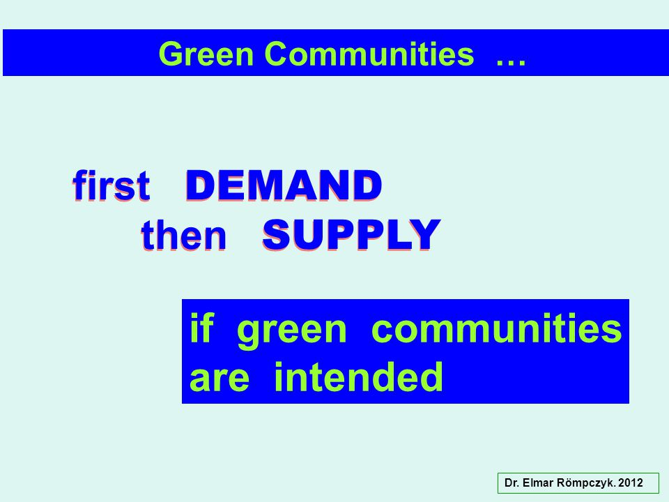 Dr. Elmar Römpczyk. 2012 Green Communities … first DEMAND then SUPPLY first DEMAND then SUPPLY if green communities are intended