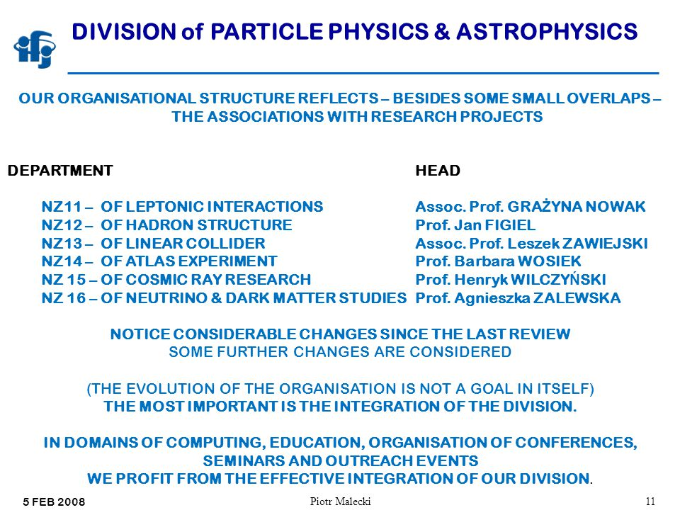 5 FEB 2008 Piotr Malecki11 DIVISION of PARTICLE PHYSICS & ASTROPHYSICS OUR ORGANISATIONAL STRUCTURE REFLECTS – BESIDES SOME SMALL OVERLAPS – THE ASSOCIATIONS WITH RESEARCH PROJECTS DEPARTMENTHEAD NZ11 – OF LEPTONIC INTERACTIONS Assoc.