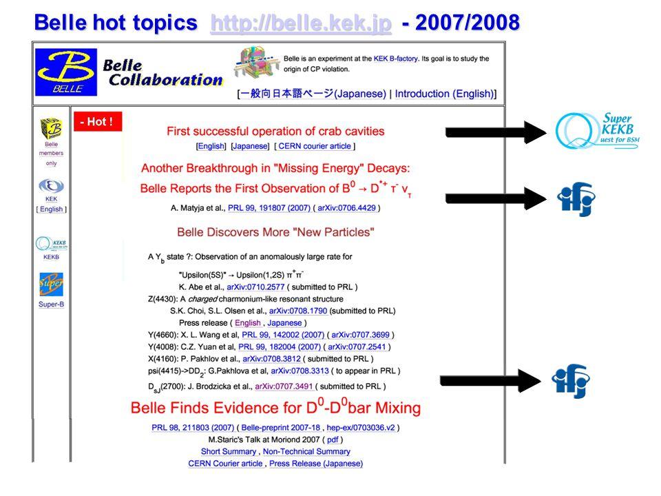 Belle hot topics http://belle.kek.jp - 2007/2008 http://belle.kek.jp
