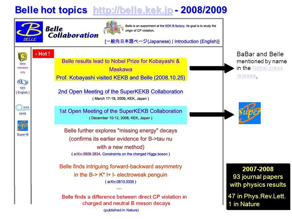 Belle hot topics http://belle.kek.jp - 2008/2009 http://belle.kek.jp 2007-2008 93 journal papers with physics results 47 in Phys.Rev.Lett.