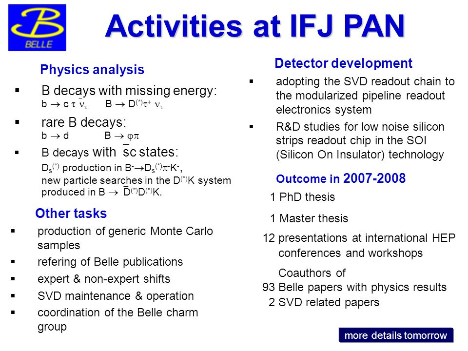 Physics analysis  B decays with missing energy: b  c    B  D (*)  +   rare B decays: b  d B    B decays with  sc states: D s (*) production in B -  D s (*)  - K -, new particle searches in the D (*) K system produced in B  D (*) D (*) K.