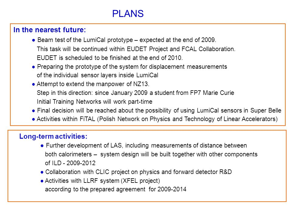 PLANS In the nearest future: ● Beam test of the LumiCal prototype – expected at the end of 2009.