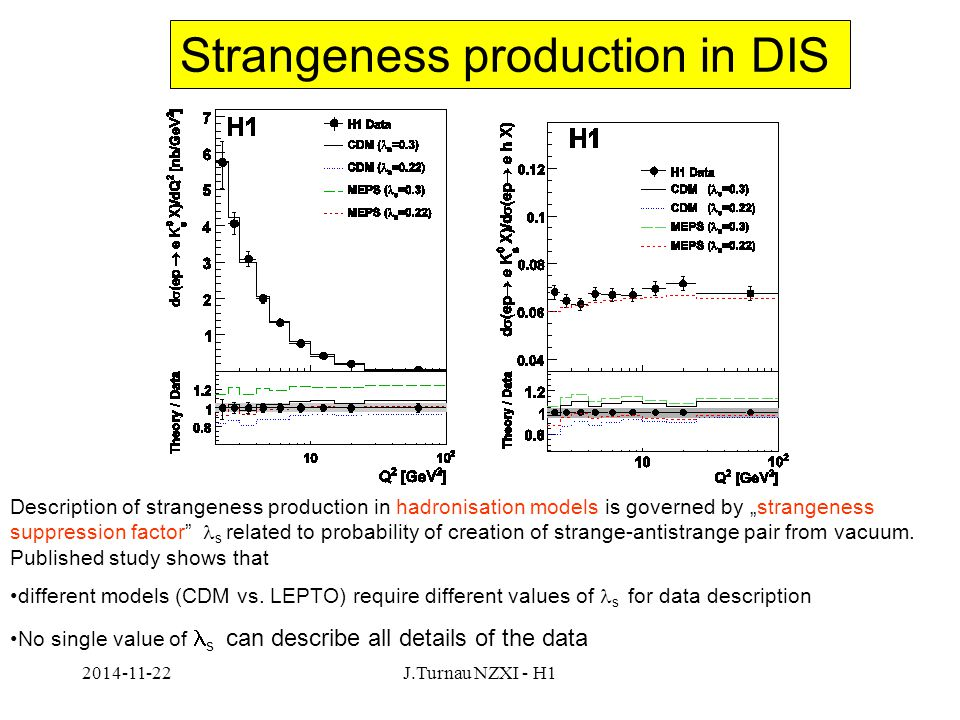 """2014-11-22J.Turnau NZXI - H1 Strangeness production in DIS Description of strangeness production in hadronisation models is governed by """"strangeness suppression factor s related to probability of creation of strange-antistrange pair from vacuum."""