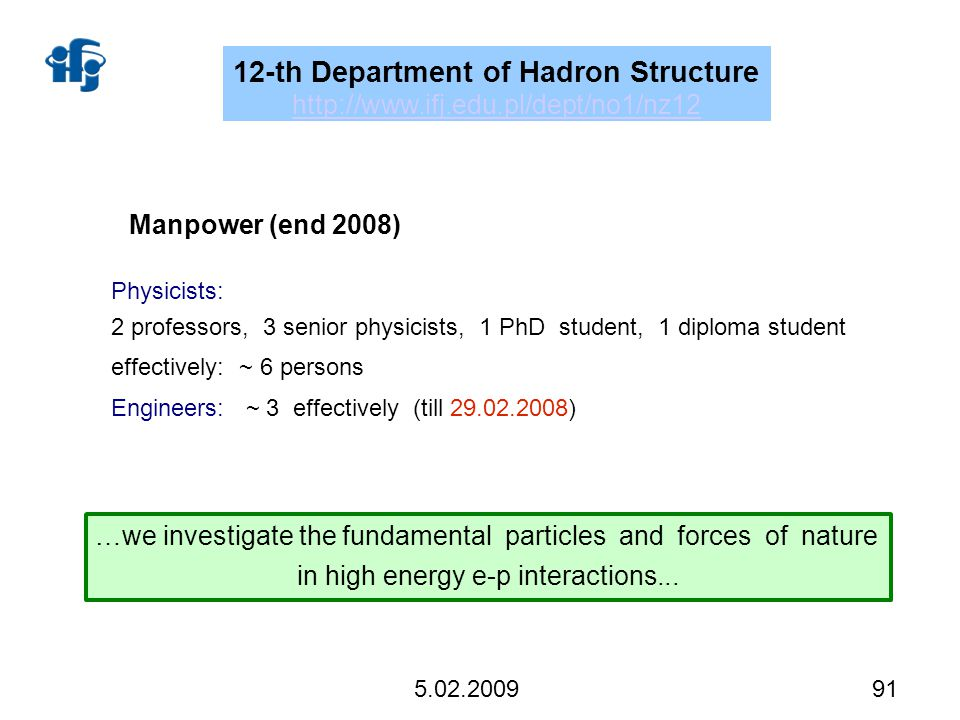 91 5.02.2009 Manpower (end 2008) Physicists: 2 professors, 3 senior physicists, 1 PhD student, 1 diploma student effectively:~ 6 persons Engineers: ~ 3 effectively (till 29.02.2008) …we investigate the fundamental particles and forces of nature in high energy e-p interactions...