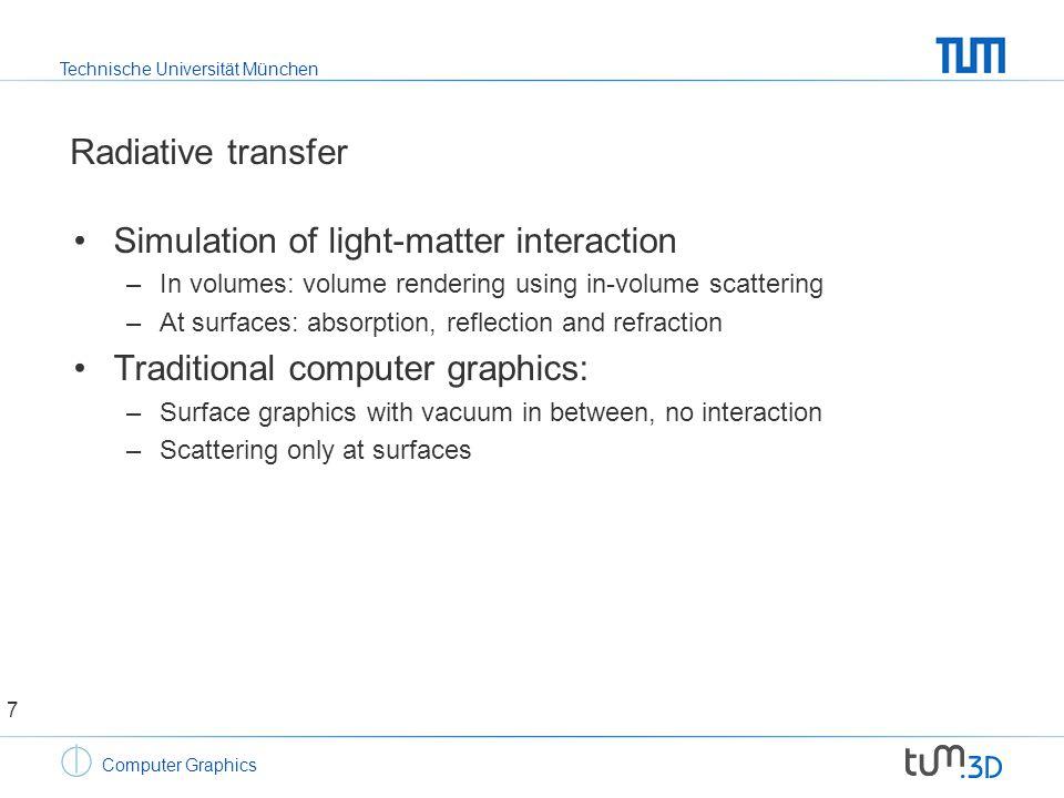 Technische Universität München Computer Graphics Radiative transfer Simulation of light-matter interaction 8