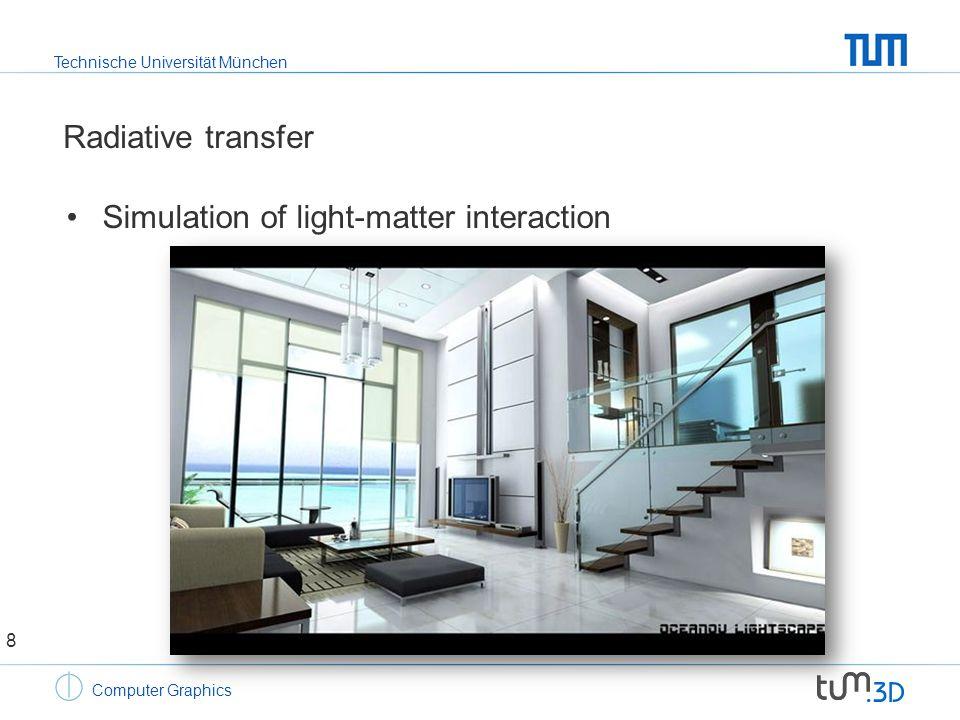 Technische Universität München Computer Graphics Radiative transfer Simulation of light-matter interaction 9