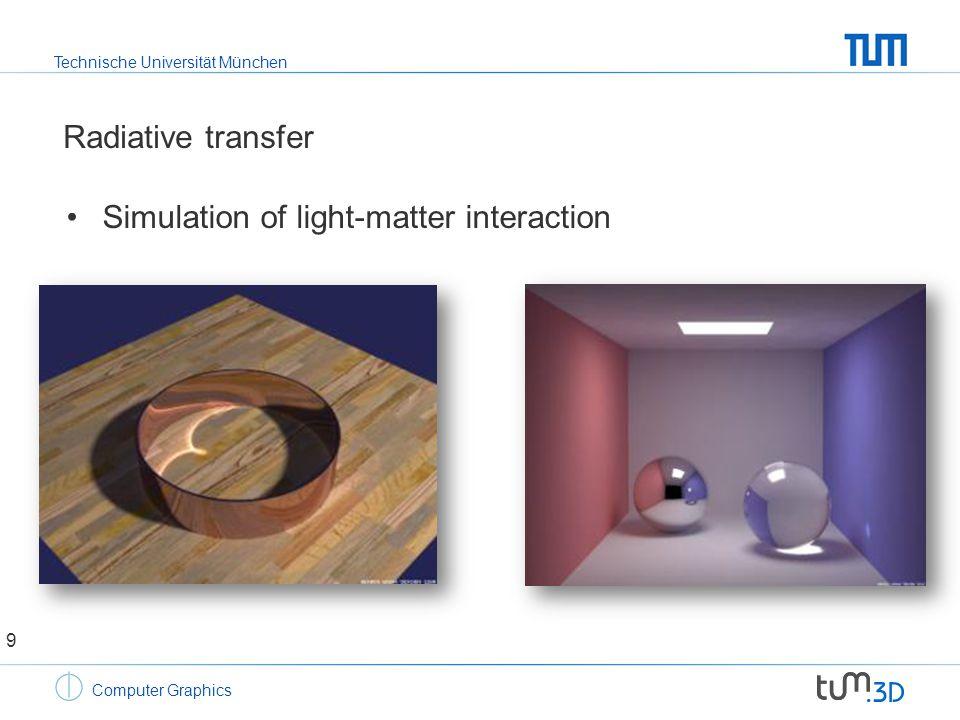 Technische Universität München Computer Graphics Radiative transfer Simulation of volumetric effects 10