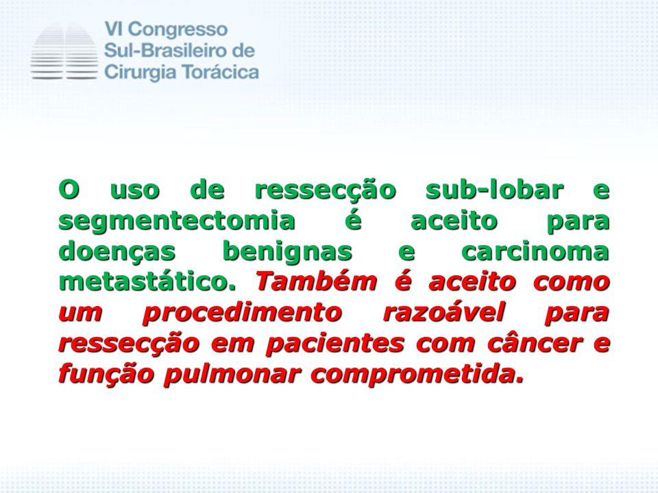 O uso de ressecção sub-lobar e segmentectomia é aceito para doenças benignas e carcinoma metastático. Também é aceito como um procedimento razoável pa