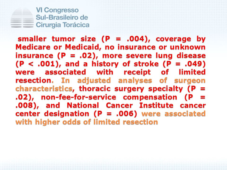 smaller tumor size (P =.004), coverage by Medicare or Medicaid, no insurance or unknown insurance (P =.02), more severe lung disease (P <.001), and a history of stroke (P =.049) were associated with receipt of limited resection.