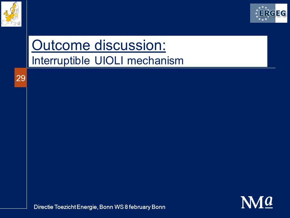 Directie Toezicht Energie, Bonn WS 8 february Bonn 29 Outcome discussion: Interruptible UIOLI mechanism