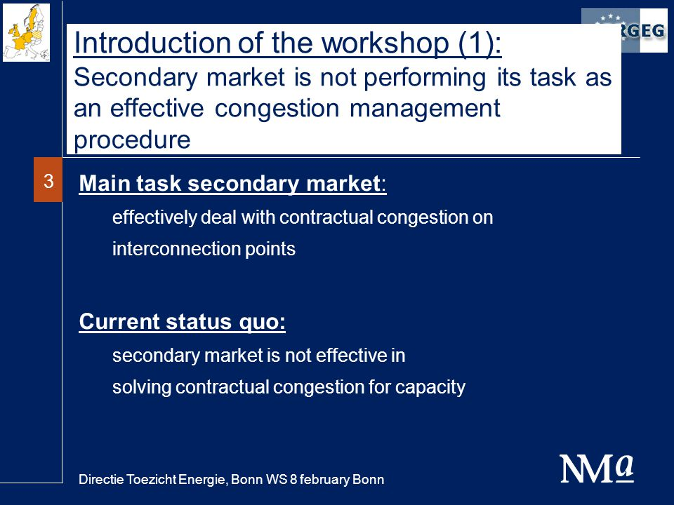 Directie Toezicht Energie, Bonn WS 8 february Bonn 3 Introduction of the workshop (1): Secondary market is not performing its task as an effective congestion management procedure Main task secondary market: effectively deal with contractual congestion on interconnection points Current status quo: secondary market is not effective in solving contractual congestion for capacity